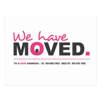 We Have Moved Pink Moving Announcement Postcard
