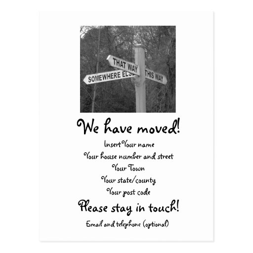 we have moved cards templates - moving house postcards moving house postcard templates
