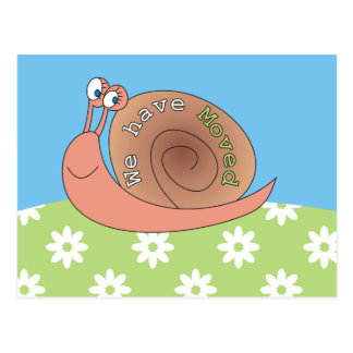 We have Moved Snail in Meadow Postcards