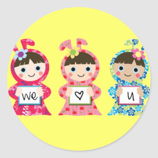 we heart you round sticker