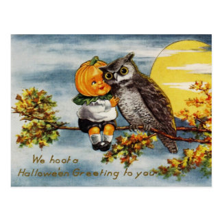 We Hoot a Halloween Greeting To You Postcard