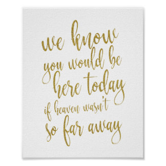 We know you would be here today 8x10 Wedding Sign