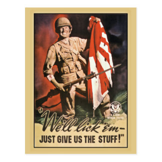 We ll lick em American World War 2 propaganda Post Card