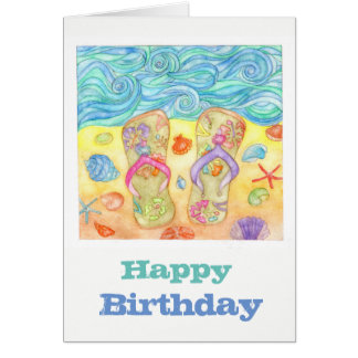 We love beach! birthday card