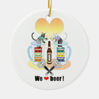 We love beer! round ceramic decoration