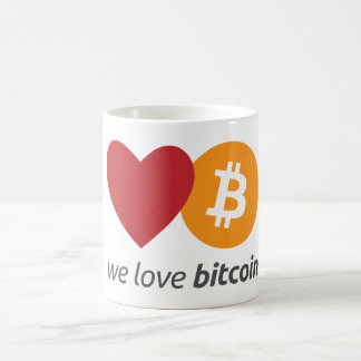 We love bitcoin coffee mug