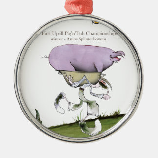 we love yorkshire up'ill pig race christmas ornament