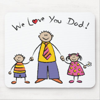 We Love You Dad Cartoon Family Happy Father's Day Mouse Mat