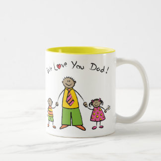 We Love You Dad Cartoon Family Happy Father's Day Two-Tone Coffee Mug