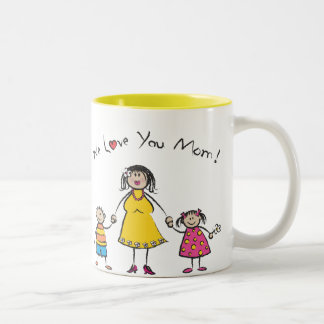 We Love You Mom Cartoon Family Happy Mother's Day Two-Tone Mug