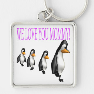 We Love You Mommy Silver-Colored Square Key Ring