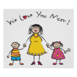 We Love You Mum Cartoon Family Happy Mother's Day Poster