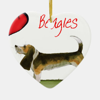we luv beagles from tony fernandes ceramic heart decoration
