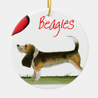 we luv beagles from tony fernandes round ceramic decoration