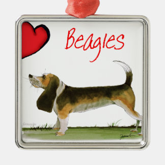we luv beagles from tony fernandes Silver-Colored square decoration