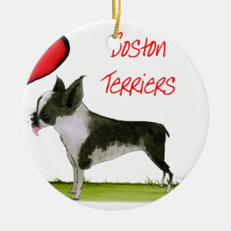 we luv boston terriers from tony fernandes round ceramic decoration