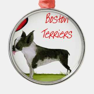 we luv boston terriers from tony fernandes Silver-Colored round decoration