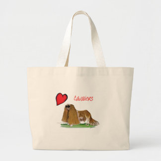 we luv cavaliers from tony fernandes large tote bag