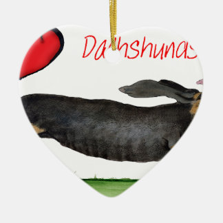 we luv dachshunds from Tony Fernandes Ceramic Heart Decoration