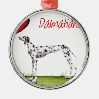 we luv dalmatians from Tony Fernandes Silver-Colored Round Decoration