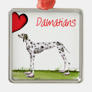we luv dalmatians from Tony Fernandes Silver-Colored Square Decoration
