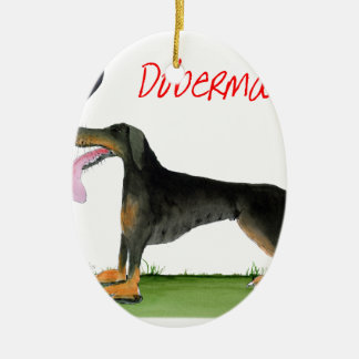 we luv dobermans from Tony Fernandes Ceramic Oval Decoration