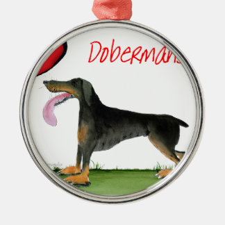 we luv dobermans from Tony Fernandes Silver-Colored Round Decoration