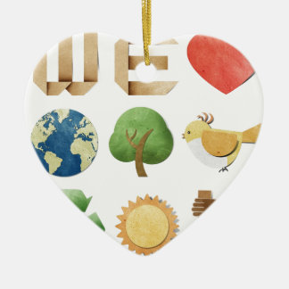 We luv earth collage new age holistic natural christmas tree ornaments