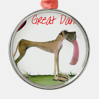 we luv great danes from Tony Fernandes Silver-Colored Round Decoration