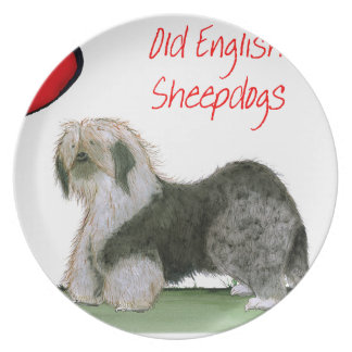 we luv old english sheepdogs, Tony Fernandes Dinner Plate