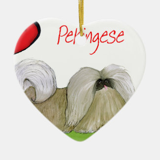 we luv pekingese from Tony Fernandes Ceramic Heart Decoration