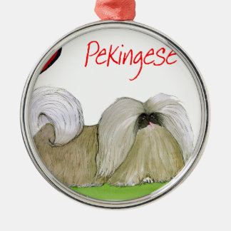 we luv pekingese from Tony Fernandes Silver-Colored Round Decoration