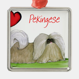 we luv pekingese from Tony Fernandes Silver-Colored Square Decoration