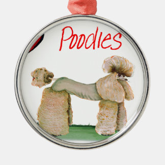 we luv poodles from Tony Fernandes Silver-Colored Round Decoration