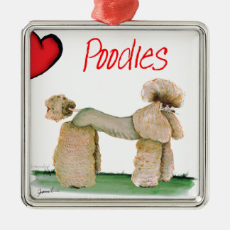 we luv poodles from Tony Fernandes Silver-Colored Square Decoration