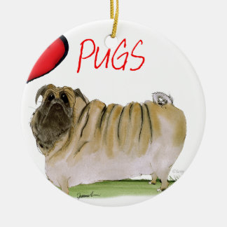 we luv pugs from Tony Fernandes Round Ceramic Decoration