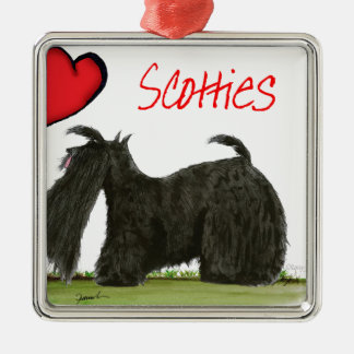 we luv scotties from Tony Fernandes Silver-Colored Square Decoration