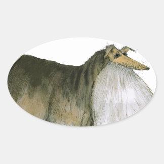 we luv shetland sheepdogs from Tony Fernandes Oval Sticker