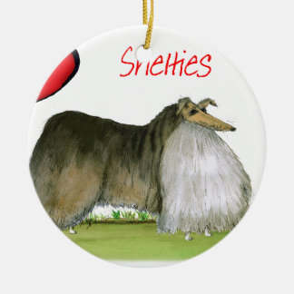 we luv shetland sheepdogs from Tony Fernandes Round Ceramic Decoration