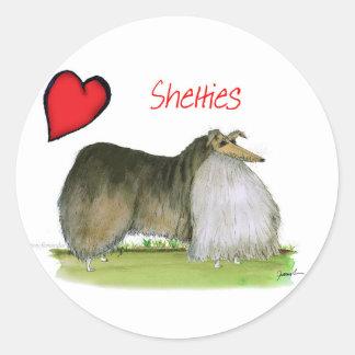 we luv shetland sheepdogs from Tony Fernandes Round Sticker