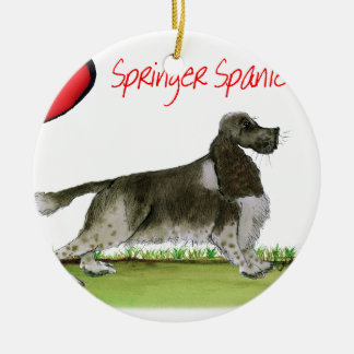 we luv springer spaniels from Tony Fernandes Round Ceramic Decoration