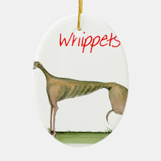 we luv whippets from Tony Fernandes Ceramic Oval Decoration