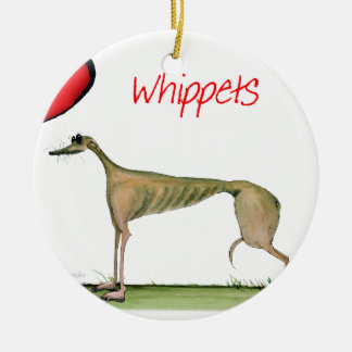 we luv whippets from Tony Fernandes Round Ceramic Decoration