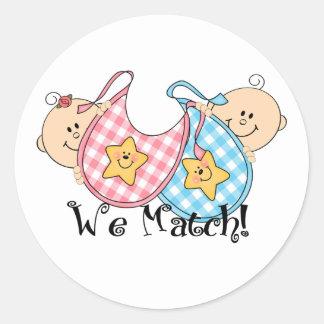 We Match Peeking Twins with Bibs 1 Girl, 1 Boy Round Sticker