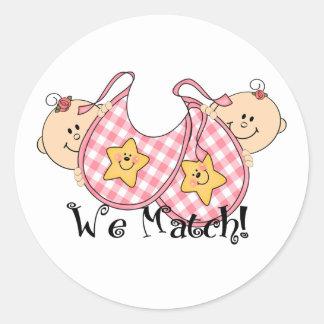 We Match Peeking Twins with Bibs 2 Girls Classic Round Sticker