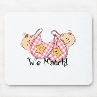 We Match Peeking Twins with Bibs 2 Girls Mouse Pad