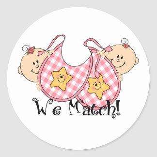 We Match Peeking Twins with Bibs 2 Girls Round Sticker