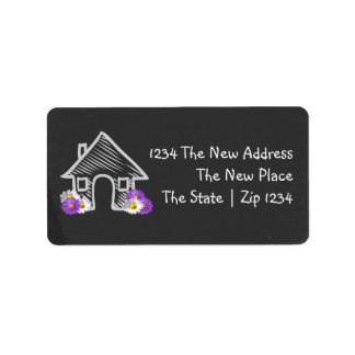 We Moved Home Blackboard Doodle Personalized Address Label