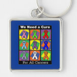We Need a Cure For All Cancers Silver-Colored Square Key Ring
