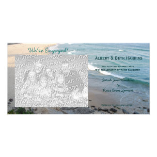 We re Engaged Beach Photo Cards